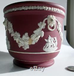 Antique Crimson Dip Lion's Head Jardiniere Planter Wedgwood Jasperware
