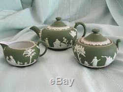 Antique Dark Green Wedgwood Jasperware 3 Piece Teapot Sugar Creamer Set