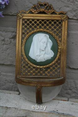 Antique French wedgwood jasperware relief plaque porcelain holy water font