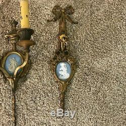 Antique Gilt Bronze Wedgwood Style Jasperware Wall Sconce Set