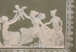 Antique Green Jasperware Classical Mythology Rectangular Plaque Wedgwood German