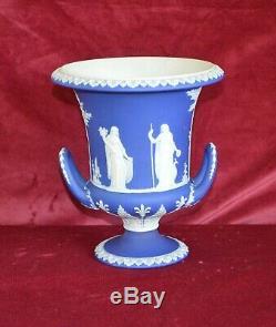 Antique Large Wedgwood Blue Jasperware Twin Handled Pedestal Urn Vase