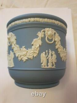 Antique Large Wedgwood Cobalt Blue Jasperware Planter with White Relief