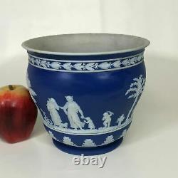 Antique Late 19th Century Wedgwood Dark Blue Jasperware 7 1/8 Cache Pot Planter