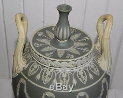 Antique Pair Of Wedgwood Jasperware Sage Green Urns Vases 1 Lidded Double Handle