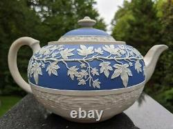Antique Pale Wedgwood Blue Jasperware/Stoneware Teapot H781 Hemispheric Ivy