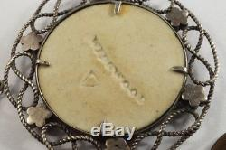 Antique Silver Wedgwood Blue Jasperware Old Father Time Cameo Pendant C1820