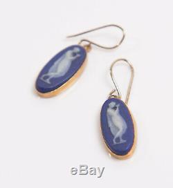 Antique Victorian 9ct Yellow Gold & Blue Wedgwood Jasperware Cameo Drop Earrings