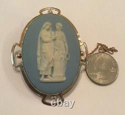 Antique Victorian Large 9K Gold Very Large Wedgwood Jasperware Pin Brooch 27.41g