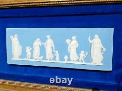Antique Vintage Wedgwood 2 Blue Jasperware Framed Wall Plaque Tile