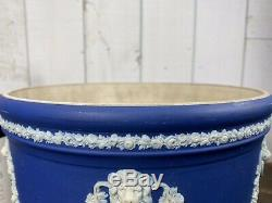 Antique WEDGWOOD Cobalt Blue Jasperware JARDINIERE Planter Large 10 EXCELLENT