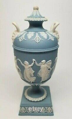 Antique WEDGWOOD Lavender (Pale Blue) Jasperware DANCING HOURS 6.5 URN with Lid
