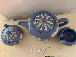 Antique Wedgewood Blue Jasper Tea Set Tea Pot Sugar Bowl & Creamer