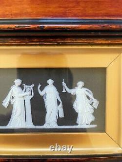 Antique Wedgwood Black Jasperware Muses Gold Framed Plaque GREAT CONDITION