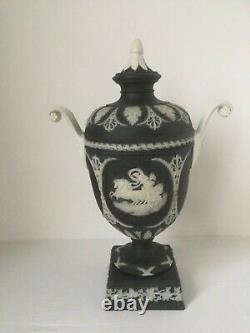 Antique Wedgwood Black/White Jasperware Urn Vase With Lid and Bolted Pedestal