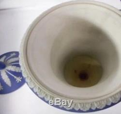 Antique Wedgwood Blue JasperWare Campana Muses Covered Urn