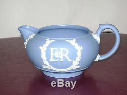 Antique Wedgwood Blue Jasperware 1953 Coffe Tea Pot Sugar Bowl Jug Set of 5