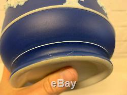 Antique Wedgwood Blue Jasperware Cache Pot / Vase with Women / Muses Decoration