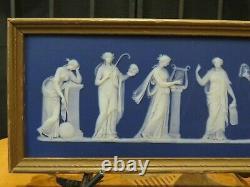 Antique Wedgwood Blue Jasperware Muses Apollo Gold Framed Plaque