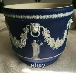 Antique Wedgwood Cache pot Coblat Blue Jasperware Neoclassical Scene 1880s