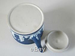 Antique Wedgwood Cobalt Blue Dip Jasperware Lg. Brewster Teapot late-1800's
