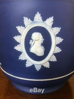 Antique Wedgwood Cobalt Blue Founding Fathers 9 Inch Jardiniere c 1860+