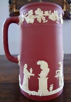 Antique Wedgwood Crimson Jasperware Tall Pitcher Offerings of Peace 7.8 inches