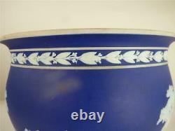 Antique Wedgwood Dark Blue Dip Jasperware Cache Pot Planter Jardinere