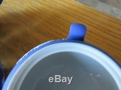 Antique Wedgwood Dark Blue Jasper Ware Teapot, Sugar Bowl & Creamer Set (c. 1920)