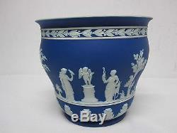 Antique Wedgwood Dark Blue Jasperware 7 1/8 Cache Pot Planter Made In England