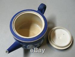 Antique Wedgwood Dark Blue Jasperware Brewster Teapot With Straight Spout
