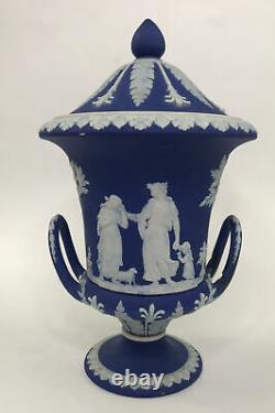 Antique Wedgwood Dark Blue Jasperware Campana Urn, Covered Urn, Two Handled, Bolted