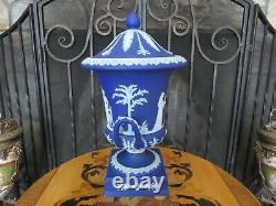 Antique Wedgwood Dark Blue Jasperware Tall Campana Lidded Pedestal Urn Vase