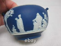Antique Wedgwood England Dark Blue Jasperware Covered Sugar Bowl