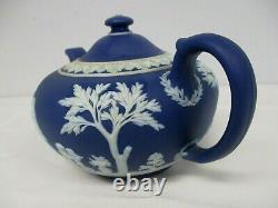 Antique Wedgwood England Dark Blue Jasperware Teapot