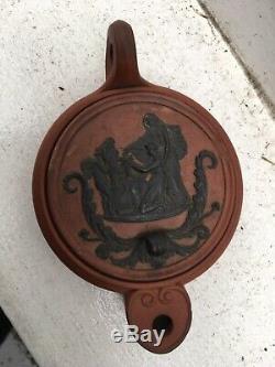 Antique Wedgwood Jasperware Antico Rosso Oil Lamp