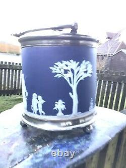 Antique Wedgwood Jasperware Biscuit Barrel-in Relief-EPNS Lid, Handle & Finial