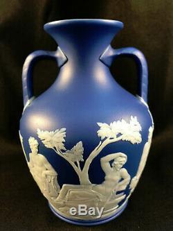 Antique Wedgwood Jasperware Dark Blue Double-handled Portland Vase