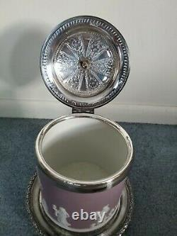 Antique Wedgwood Jasperware Lilac Biscuit Jar with Ornate Silver Top & Base RARE