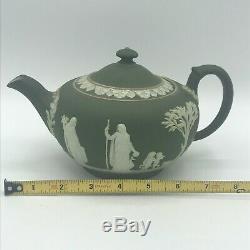 Antique Wedgwood Jasperware Teapot Creamer Sugar Bowl Trinket Dish Sea Green