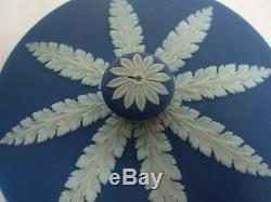 Antique Wedgwood Made In England Dark Blue Jasperware 5 1/4 Covered Bowl