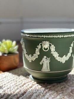 Antique Wedgwood Olive Green Jasperware Planter/Jardiniere 6.5 x 7