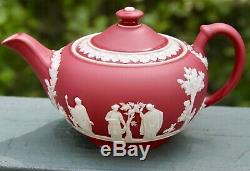 Antique Wedgwood RARE Crimson Dip Jasperware Teapot Creamer and Sugar Bowl c1930