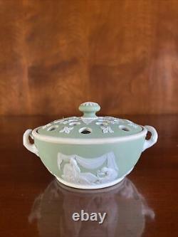 Antique Wedgwood Sage Green Dip Jasperware Potpourri c 1891+