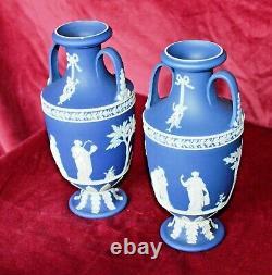 Antique Wedgwood Twin Handled Pedestal Urns Blue Jasperware White relief