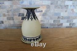 Antique Wedgwood Yellow Jasper Ware Tall Tricolor Vase Black Relief (c. 1879)