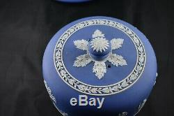 Antique Wedgwood jasperware cake / cheese plate & dome cobalt blue