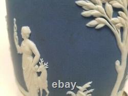 Antique pre 1891 WEDGWOOD (only) Cobalt Blue Dip Jasperware Biscuit Jar Mounted