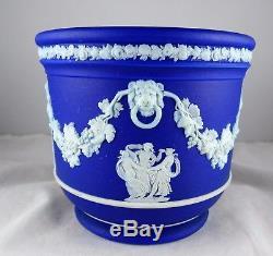 Atq Wedgwood Blue Jasperware 4 Jardiniere Urn Neoclassical Figures Lion's Head