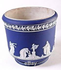 B383E Adams Jardiniere Cache Pot Jasperware, in White over Cobalt Blue